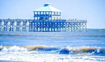 pier on beach in Charleston South Carolina