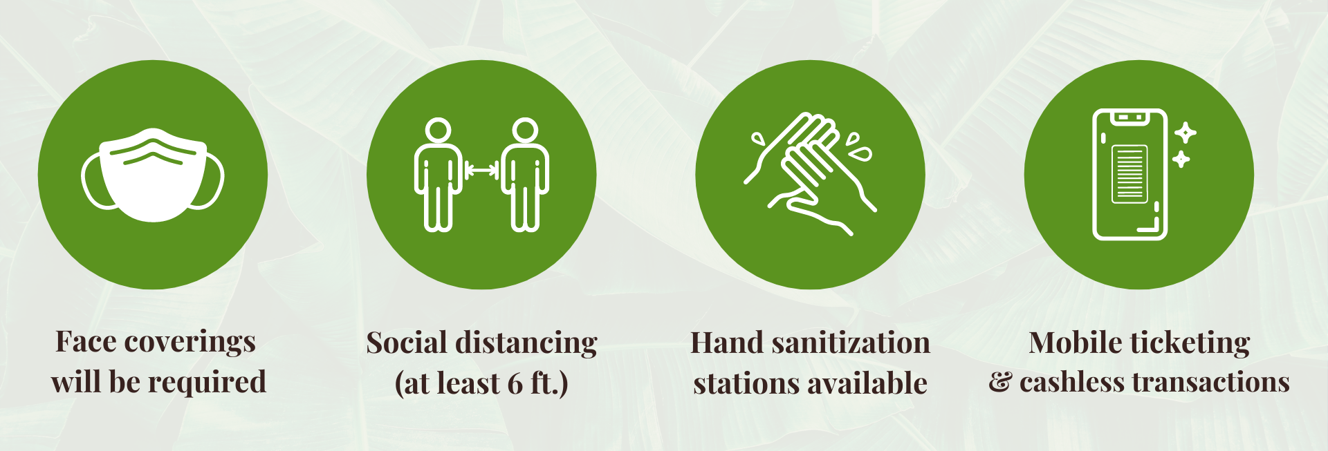 Icons for face coverings, social distancing, hand washing stations, and more