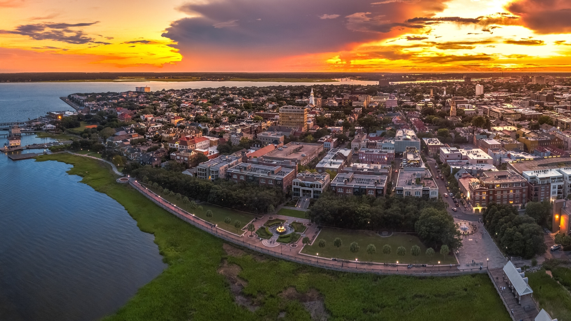Aerial View of Downtown Charleston
