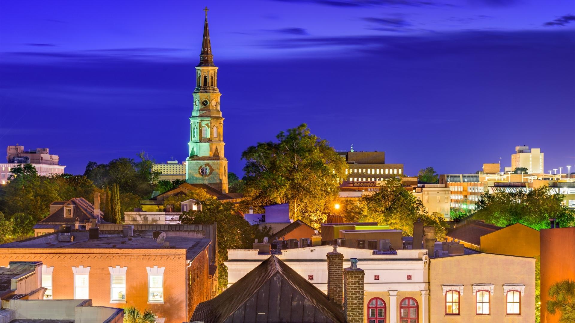Charleston SC Downtown at Night
